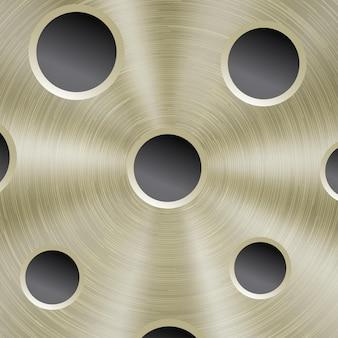 Fundo abstrato de metal brilhante na cor dourada com textura circular escovada e orifícios redondos