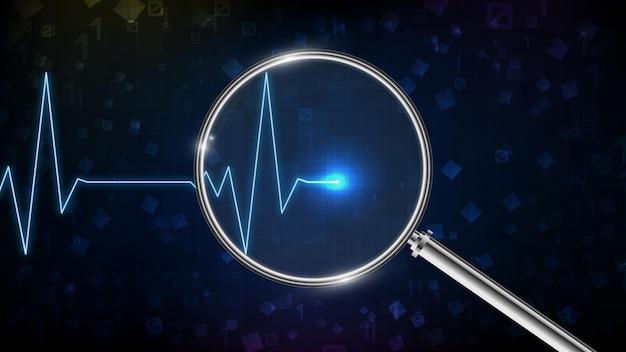 Fundo abstrato de monitor digital de onda de pulsação e batimento cardíaco de ecg com lupa