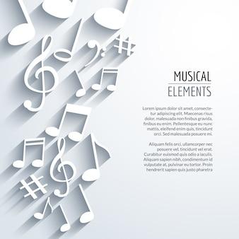 Fundo abstrato de música com notas com sombras