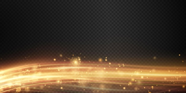 Fundo abstrato de natal de linhas suaves de luz dourada linhas douradas de velocidade novo 2022