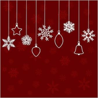 Fundo abstrato de natal quadro de inverno com flocos de neve em um fundo vermelho.