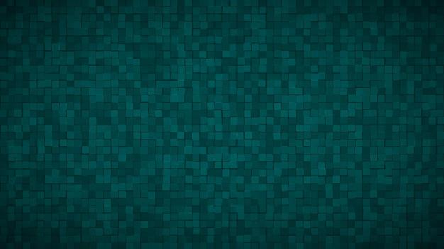 Fundo abstrato de pequenos quadrados ou pixels em cores turquesas escuras