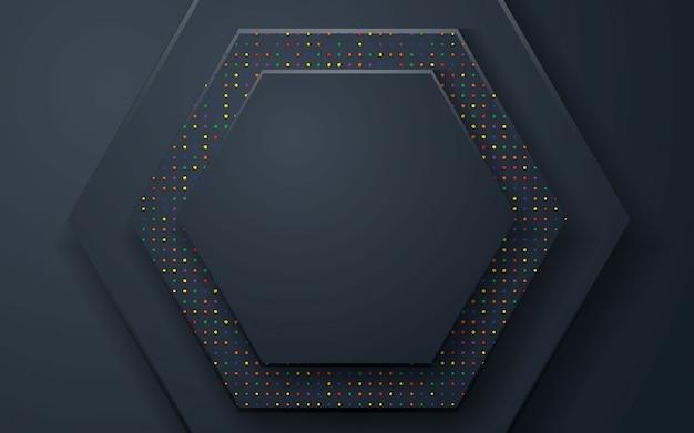 Fundo abstrato de polígono preto com brilhos coloridos