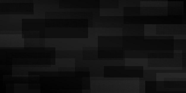 Fundo abstrato de retângulos que se cruzam consistindo de pontos, em cores pretas Vetor Premium
