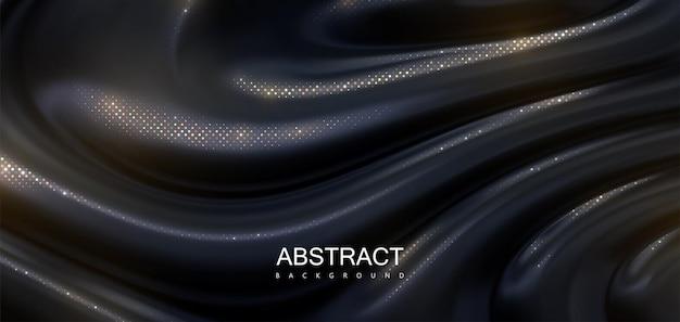 Fundo abstrato de substância negra gotejante com brilhos dourados cintilantes