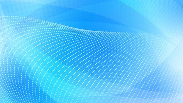 Fundo abstrato de superfícies curvas e pontos de meio-tom em cores azuis claras