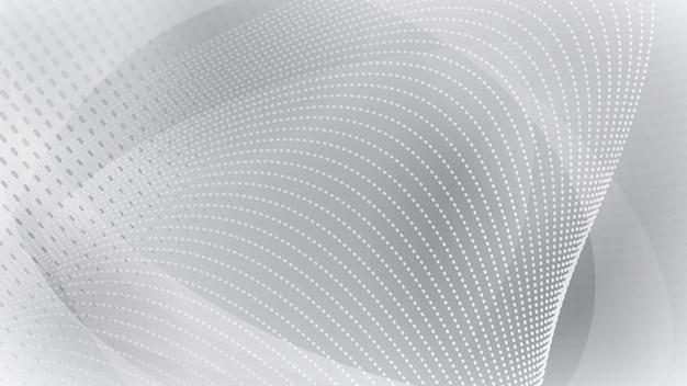 Fundo abstrato de superfícies curvas e pontos de meio-tom nas cores branco e cinza