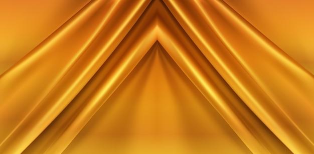 Fundo abstrato de tecido de seda dourado