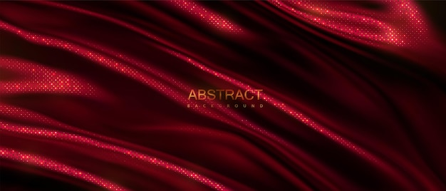 Fundo abstrato de tecido ondulado vermelho com padrão de brilhos dourados