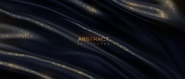 Fundo abstrato de tecido preto ondulado com padrão de brilhos dourados
