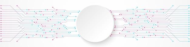 Fundo abstrato de tecnologia, banner de círculo branco em padrão de placa de circuito gradiente azul e rosa