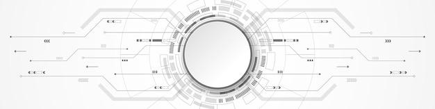 Fundo abstrato de tecnologia, banner de círculo branco na placa de circuito digital cinza