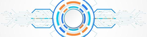 Fundo abstrato de tecnologia, banner de círculo branco no círculo digital colorido e placa de circuito