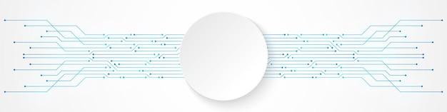 Fundo abstrato de tecnologia, banner de círculo branco no padrão de placa de circuito azul