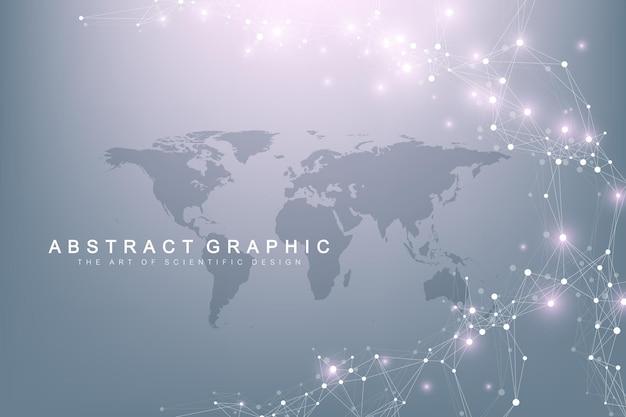 Fundo abstrato de tecnologia com linha conectada e ilustração de pontos
