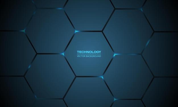 Fundo abstrato de tecnologia hexagonal azul escuro