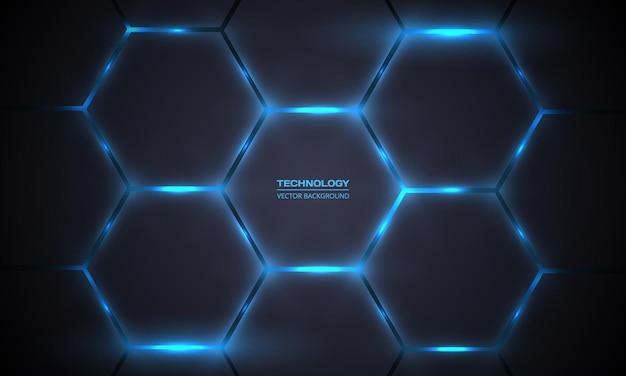 Fundo abstrato de tecnologia hexagonal cinza escuro e azul