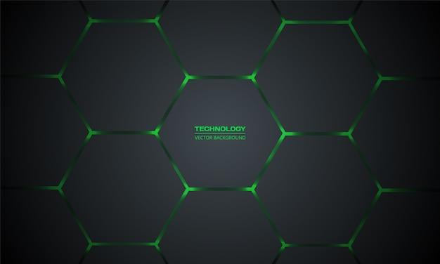 Fundo abstrato de tecnologia hexagonal cinza escuro e verde