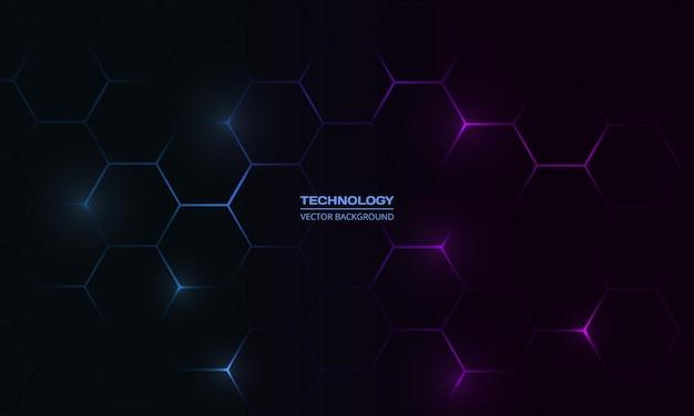 Fundo abstrato de tecnologia hexagonal escuro com flashes brilhantes coloridos em azul e rosa