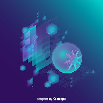Fundo abstrato de tecnologia isométrica