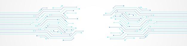 Fundo abstrato de tecnologia, padrão de placa de circuito azul, espaço em branco