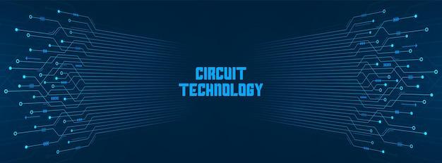 Fundo abstrato de tecnologia, padrão de placa de circuito azul, microchip, linha de energia, espaço em branco