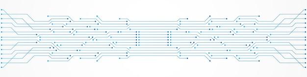 Fundo abstrato de tecnologia, padrão de placa de circuito azul, microchip, linha de energia