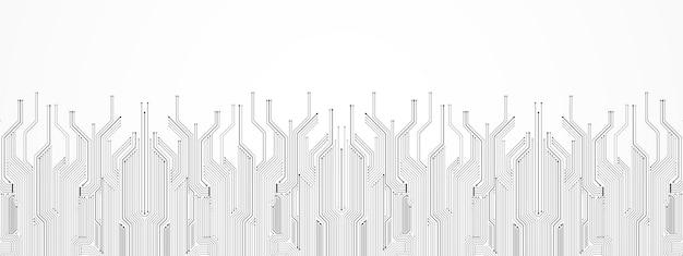 Fundo abstrato de tecnologia, padrão de placa de circuito cinza, microchip, linha de energia, espaço em branco