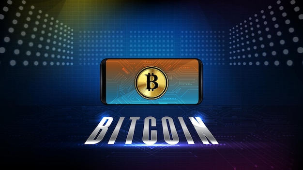 Fundo abstrato de telefone inteligente de tecnologia futurista com moeda criptomoeda bitcoin