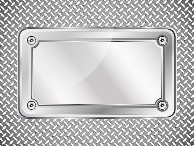 Fundo abstrato de textura de metal, placa de identificação de aço com parafusos.