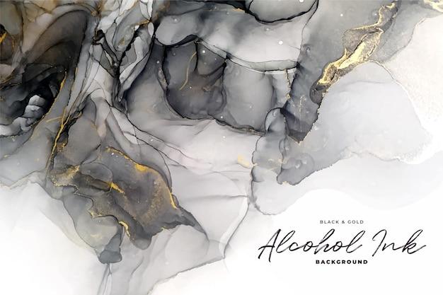 Fundo abstrato de tinta a álcool preta e dourada