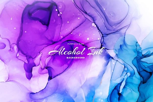 Fundo abstrato de tinta de álcool azul e roxo