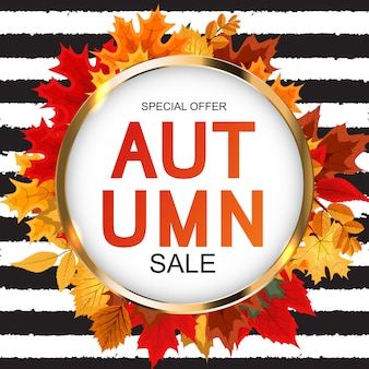 Fundo abstrato de venda de outono com folhas de outono caindo