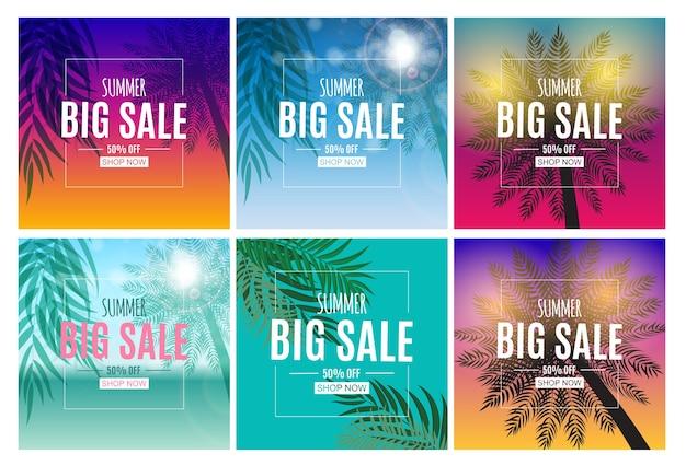Fundo abstrato de venda de verão com conjunto de coleta de folhas de palmeira