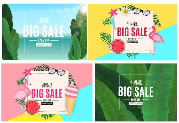 Fundo abstrato de venda de verão com folhas de palmeira