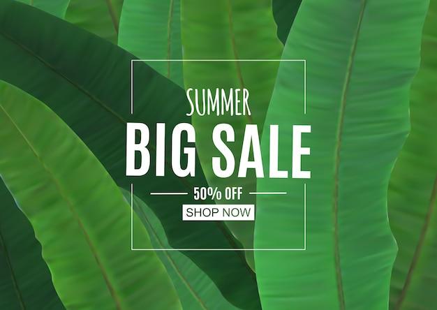 Fundo abstrato de venda de verão com folhas de palmeira.
