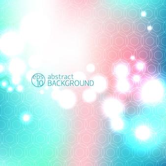 Fundo abstrato desfocado com pontos brilhantes multicoloridos de alta chave bokeh e título branco