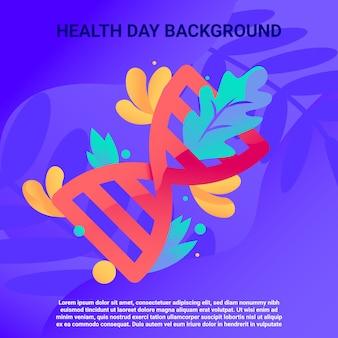 Fundo abstrato dia de saúde com ilustração de dna
