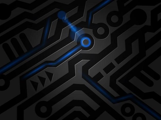 Fundo abstrato digital da tecnologia do teste padrão preto.