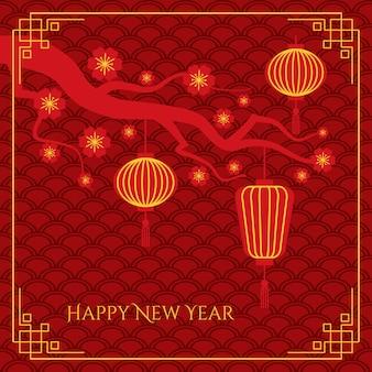 Fundo abstrato do ano novo chinês com lanternas chinesas em galho de árvore no padrão tradicional de ondas
