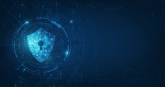 Fundo abstrato do azul da tecnologia digital da segurança.