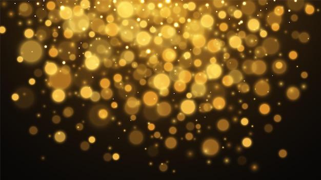 Fundo abstrato do bokeh do ouro. fundo dourado de poeira estelar. ilustração vetorial