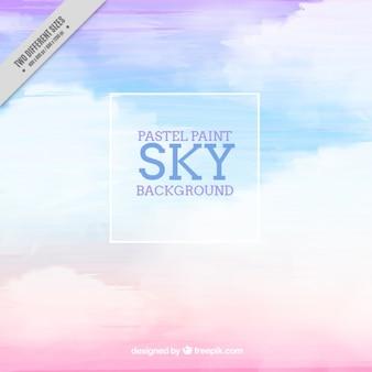 Fundo abstrato do céu com nuvens no efeito aquarela