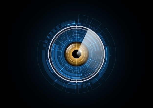 Fundo abstrato do círculo de segurança do radar do futuro olho da tecnologia