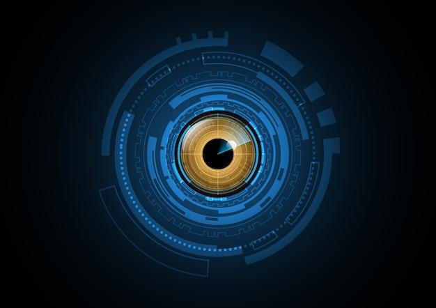 Fundo abstrato do círculo do radar do olho do futuro da tecnologia