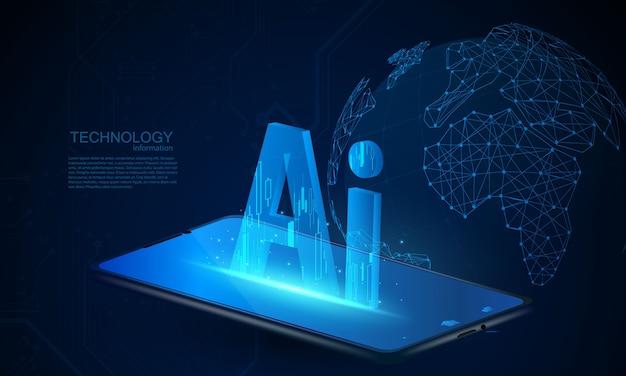 Fundo abstrato do conceito de comunicação de tecnologia ai