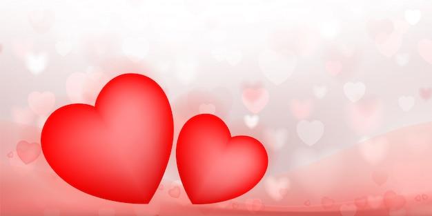 Fundo abstrato do coração vermelho com bokeh borrado claro.