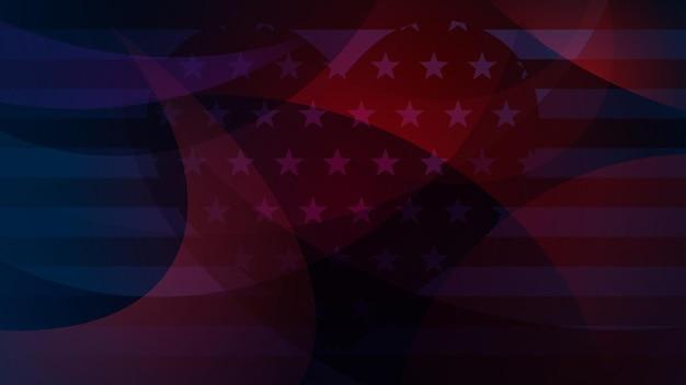 Fundo abstrato do dia da independência com elementos da bandeira americana em cores azuis escuras.