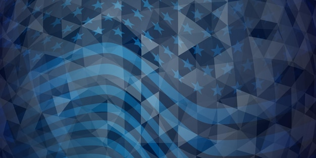 Fundo abstrato do dia da independência dos eua com elementos da bandeira americana em cores azuis escuras.