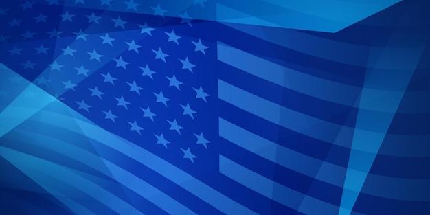 Fundo abstrato do dia da independência dos eua com elementos da bandeira americana em cores azuis.